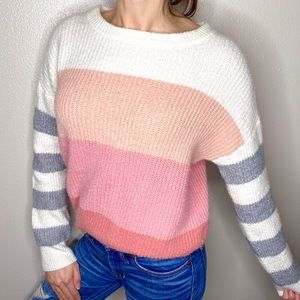 Who Is hat Wear Pink Cream Striped Sweater S